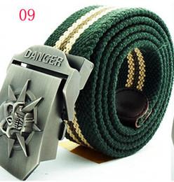 Wholesale-2015 NEW Designer canvas skull Belt Buckle Male Skeleton Strap Militry Outdoor Belts For Men Cinto Masculino Tactical Belt 120cm