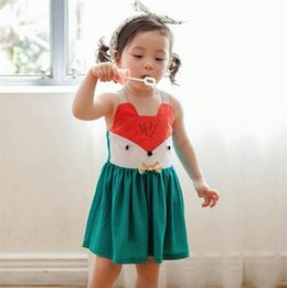 New Toddler Baby Girls Cartoon Dress Halter Summer Cute Squirrel Design Dress Sweet Kids Dress