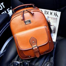 Wholesale Retro England Style College High School Bag Travel Unisex knapsack Backpack Dress Bag PU Leather For Girl