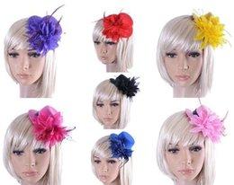 Nouvelle mariée de mode chapeau de chapeau de ruban de mariage en dentelle de gaze fleur de plume Mini chapeaux haut fascinateur parti pinces à cheveux bouchons MILLINERY bijoux de cheveux à partir de ruban de chapellerie fabricateur