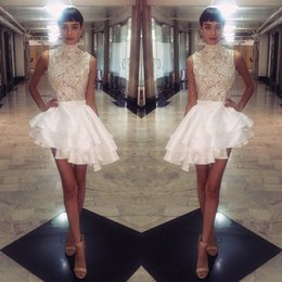 Wholesale 2016 Michael Costello Short Dresses High Neck Lace Satin Cocktail Party Gowns Tiers Ruffles Asymmetrical Mini Prom Celebrity Gowns Custom