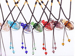 Wholesale DHL EMS FREE Noctilucent Perfume glass bottles crystal vial pendant perfume fragrance vial pendant fragrance necklace pendant