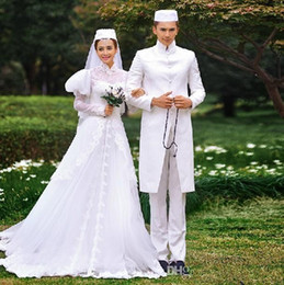 Muslim Wedding Dresses 2015 Fall Winter A-line lace wedding gown poet long sleeve stain bridal dresses Fall bridal luxury arabic dresses