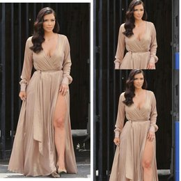 Sexy Kim Kardashian street style A line chiffon celebrity evening dresses deep V neck with long sleeves split floor length prom gowns