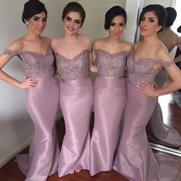 Dusty Purple   Lavender Mermaid Bridesmaid Dresses Long Off Shoulder Lace Appliques Beads Sexy Plus Size Bridesmaids Formal Dress