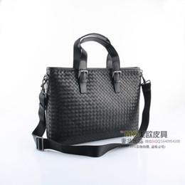 Wholesale discount super value genuine leather weave handbag B bag men s bag black shoulder bag