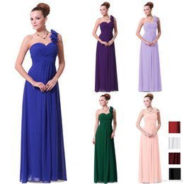 Wholesale Purple Pink Blue Long Bridesmaid Dresses Flowers One Shoulder Chiffon Padded New Design Vestidos De Festa Long Bridesmaid Dress