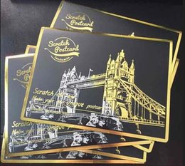 Wholesale 4 in Scratch Postcard Scratch Night View Sydney Paris Las Vegas Birthday Gift Cards