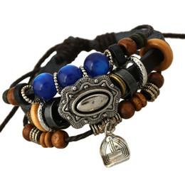 Wholesale Bracelets Fashion infinity bracelets charming multilayer Handmade Beaded Baseball cap Pendants Leather Charms Bracelet unisex
