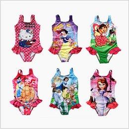 Wholesale 2015 AAA quality kid girl color summer dora princess kt surf sofia elsa beach one piece sunproof swimsuit print swimwear TOPB2087