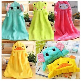 Wholesale Hot Sale New Baby Hand Towel Soft Children s Cartoon Animal Hanging Wipe Bath Face Towel