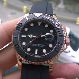 Wholesale Everose gold Rubber Oysterflex bracelet Fashion mm Ceramic Bezel Mens Watch Sports Men Automatic Self Wind Watches