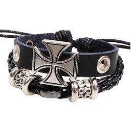 Wholesale Handmade Leather Braided Bracelets Bangle Wristband Adjustable Vintage Christian Bible Cross Charm Women Men Christmas Gifts