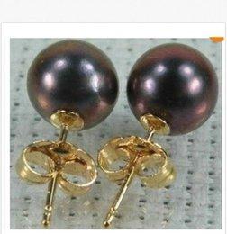 NOUVEAU 14K ODE SOLIDE MARQUÉE 10-11 MM PERFECT TAHITIAN BLACK PEARL EARRING cheap solid pearl à partir de perle solide fournisseurs