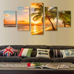 Wholesale 5 Piece Sunset Seascape Coco Beach Picture Oil Canvas Print Unframed Mural Art Painting for Home Living Wall Decor