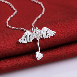 Angel Pendants Charms necklaces 925 pure silver n686 2015 New Jewelry