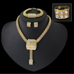 Wholesale A A A top quality dubai gold jewelry sets K necklace earrings ring bangle sets for women on party and wedding
