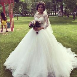 Long Sleeve Sheer Lace Wedding Dresses 2016 A-Line Vestido de Festa Ruffles Pleats Long Bride Gowns Spring Full Autum