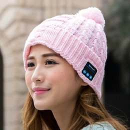Wholesale Bluetooth music hat soft warm hats Warm wool hat handsfree headphone cap Autumn and winter knitting wool hat Newest colors
