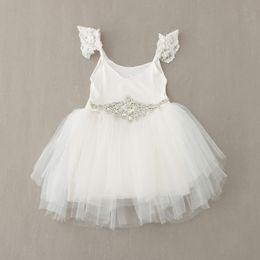 2016 Sweet Girl Sleeveless Tutu Lace Dress With diamond belt Children Vest Party Princess Dresses Kids Vintage Dresses Costume Grils Clothes