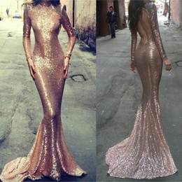 Sexy Formal Evening Celebrity Dresses Long Sleeves Sequins Backless Rose Pink Mermaid Bridal Party Prom Gowns Arabic 2019 Custom Made Cheap