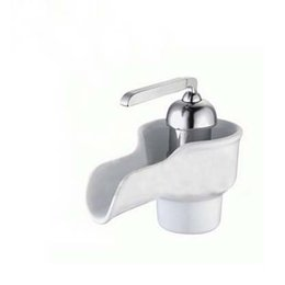 Wholesale White Ceramic Tap Waterfall Tap Luxury Porcelain Sashbasin Tap Cold And Hot Water Taps Bathroom Faucet Mixer Tap Basin Mexer
