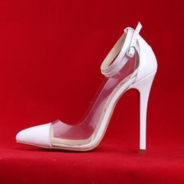 Wholesale-clear PVC sexy pointed toe high heels bright color wedding shoes red sole pumps size 35-42