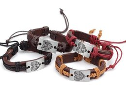 Wholesale Lowest price VintagePeach Heart Bracelet Genuine Leather Knitted Rope Bracelets Dark Coffe Black Brown Dark Red