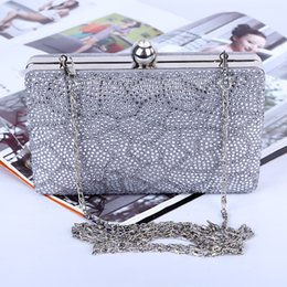 Wholesale Factory brand new handmade pretty diamond dinner bag clutch purse with satin PU for banquet party porm brides maids(More colors)