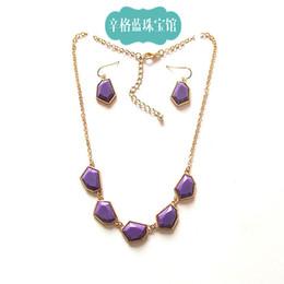 Wholesale OL temperament Singh Blue Forever21 geometrically irregular gemstone earrings clavicle chain kit