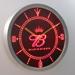 nc0471 Budweiser Crown LUMINOVA Neon Sign Bar Beer Decor LED Wall Clock Free Shipping Dropshipping Wholesale