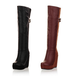 Womens Stylish Buckle Strap Platform Wedge Heeled Knee High Boots Shoes N152