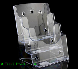 Wholesale Clear A5 Three Tiers Pamphlet Brochure Literature Plastic Acrylic Display Holder Stand To Insert Leaflet On Desktop