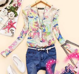 Wholesale Spring Blouse Flower - New Fashion Women tops Hot Selling Flower Print Ladies Blouse Women Shirt Spring Summer Blusas Femininas Tops 1030