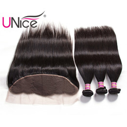 UNice Hair Malaysian Straight Virgin Ear to Ear Lace Frontal and Bundles Human Hair Bundles With 13x4 Lace Closure Frontal Remy Hair Weave