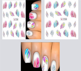 Wholesale Hot Sales Individual Decals Per Sheet D Water Transfer Nail Art Stickers Manicure Tips Feather Decals DIY T174