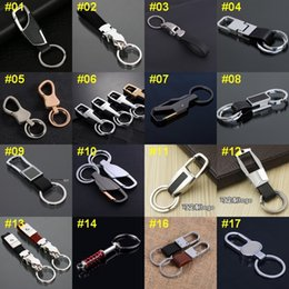 Wholesale 50pcs Mixed order High quality Business Style Men Leather Stainless Steel Keychain Key Caps Covers Keys Keychain Case K004