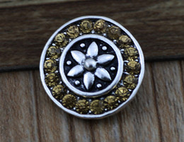 DIY jewelry 18mm yellow crystal flower copper button noosa chunk adjust Noosa flower ring button snap DIY Noosa Jewelry E182L