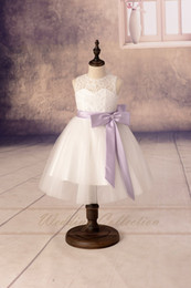 2020 NEW HOT Lace Flower Girl Dresses Tulle Flower Girls Dress With Lilac Sash and Bow High Quality High Quality Dress Birthday Dress Party