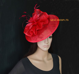 Red Big Sinamay fascinator with feather flower for Kentucky derby Wedding.
