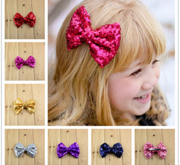 Hot New Children Sequin Barrettes Cute Baby Girl Big Bow Clips Boutique Hair Pin Luxury Girls Hairpin 21 Candy Colors