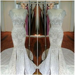 Wholesale Charming Amazing Crystal Bead Sequins Luxury Evening Dresses Prom Wear Sweep Train Mermaid Gorgeous Evening Gowns Cap Sleeve Real Image