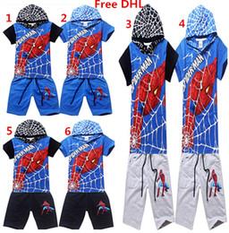 Spiderman ensembles de vêtements d'été à vendre-Courtes 100% coton T-shirt Pantalons Cinquième 2PCS Tenues Set Spiderman Kids Cartoon Set Vêtements enfants Summer Vêtements décontractés Sport Set