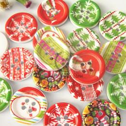 Promotion trous bois Noël boutons 72pcs 4 trous 18mm série de Noël Mixte boutons décoratifs en bois coudre artisanat accessoires bricolage scrapbooking