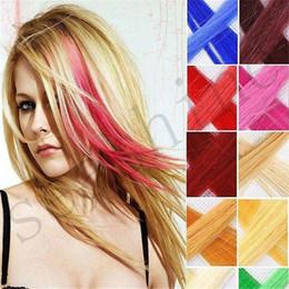 """Compra Online Resistente para el cabello de calor-12 colores 20 """"clip sintético de 20Pcs / Pack en extensiones del pelo Pieza resistente del pelo larga recta natural del pelo"""