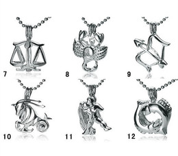 18KGP Fashion Signs of Zodiac Pendant Mountings, Twelve Constellations style Pearl  Gem Bead Cage Lockets DIY Lucky Charm Jewelry No.7~No.12