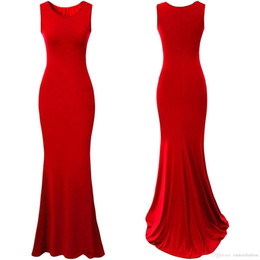 Wholesale 2016 New Sexy Red Bodice Solid Jersey Women Dresses Mermaid Summer Party Gown Royal Blue Causal Party Dress Runway Evening Gowns OXL2615
