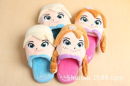 2015 Frozen Elsa Anna Winter Warm Slippers shoes Three-dimensional cartoon indoor children slippers