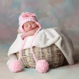free shipping,Newborn Pom Pom Hat, Pink Fuzzy Hat With Earflaps, Newborn Photo Prop, Hat With Bow, Pink Newborn Hat 0-3MONTH