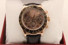 Regarder rose d'or à vendre-Montre de luxe Hommes 116528 rose doré Edition Noir cadran Perpetual Automatique ceinture en cuir Sport Hommes Montres